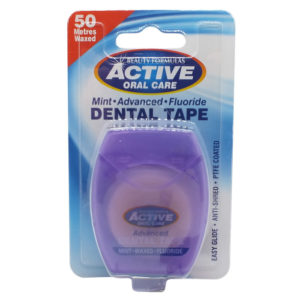 Active Oral Care Dental Tape tasma mietowa woskowana z fluorem 50 metrow